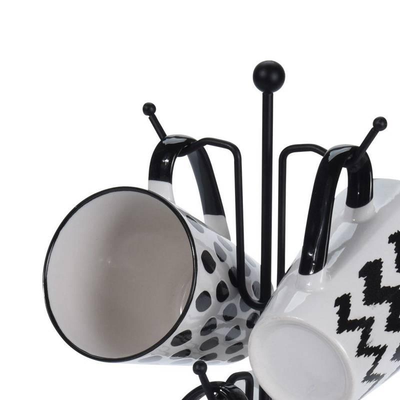ORION Ceramic mug / set of mugs on stand hanger 4x 300 ml