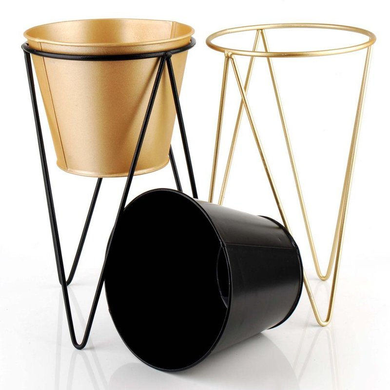 ORION Cover POT metal on stand black gold 15x26 cm