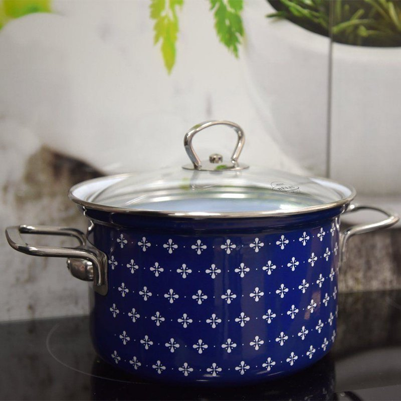 ORION Enamel pot with lid 16cm 2,1L SOFIA