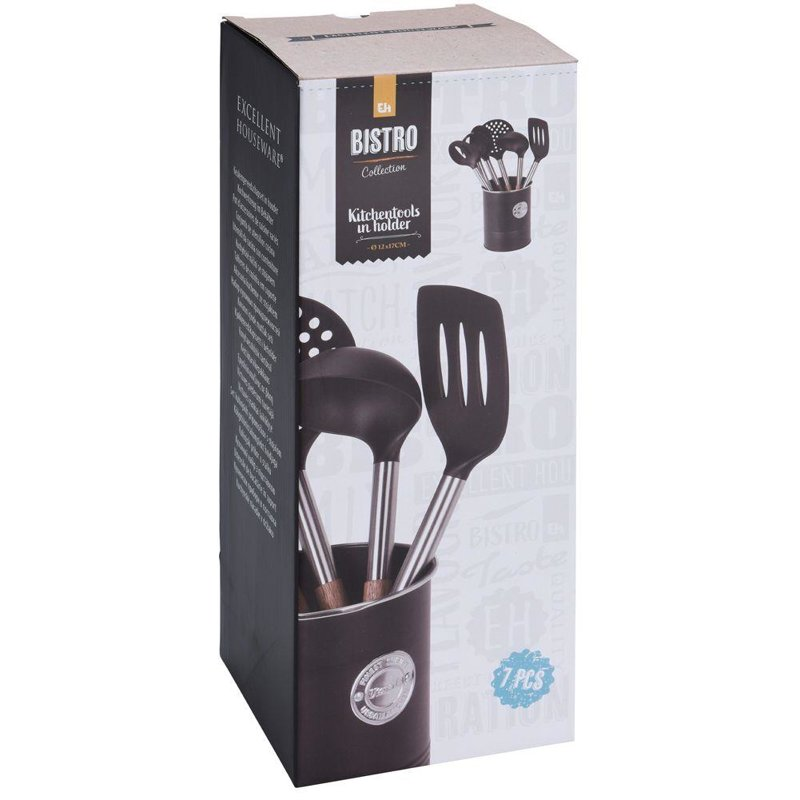 ORION Set of kitchen utensils in basket laddle spatula skimmer spoon