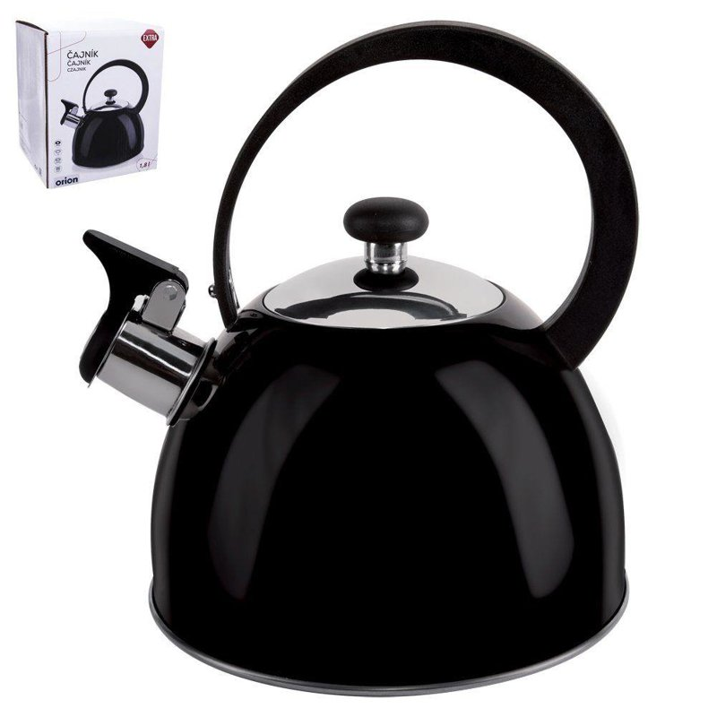 ORION Steel kettle with a whistle BLACK induction 1,8L