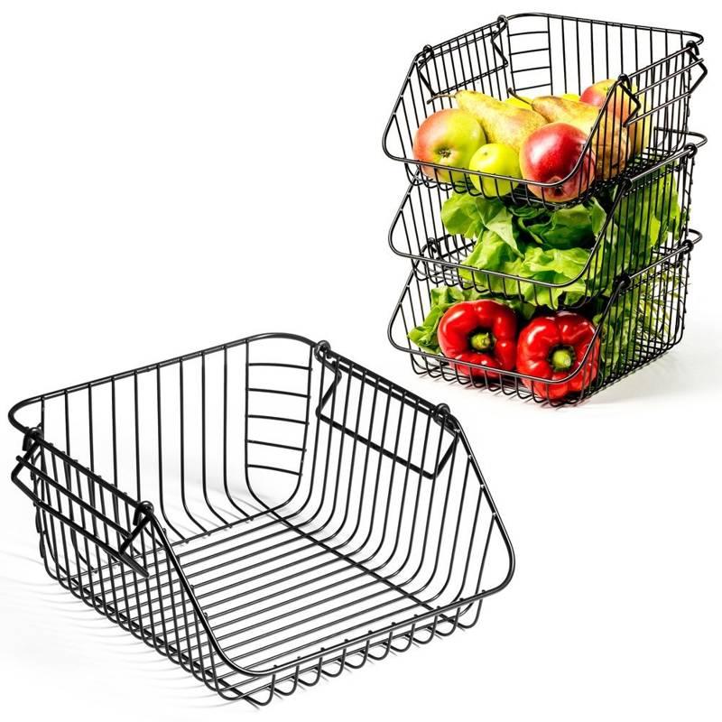 VILDE Fruit and vegetable basket, metal, black, stacking, stand, bowl LOFT 29x24x14 cm