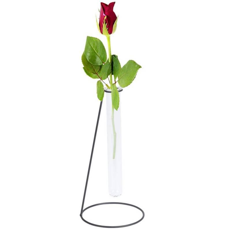 ORION Blumenvase Glasvase Reagenzglas + schwarzes Metallgestell für Blumen Dekorationen 23 cm