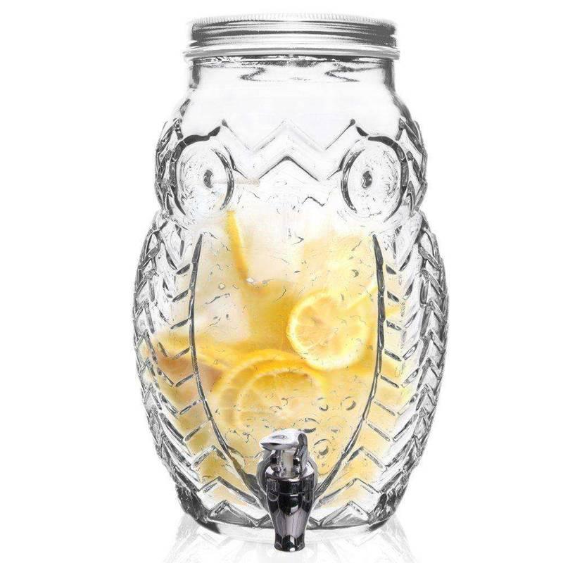 ORION Getränkespender Glas Zapfhahnflasche mit Zapfhahn Gläser Trinkgläser 5,2 L