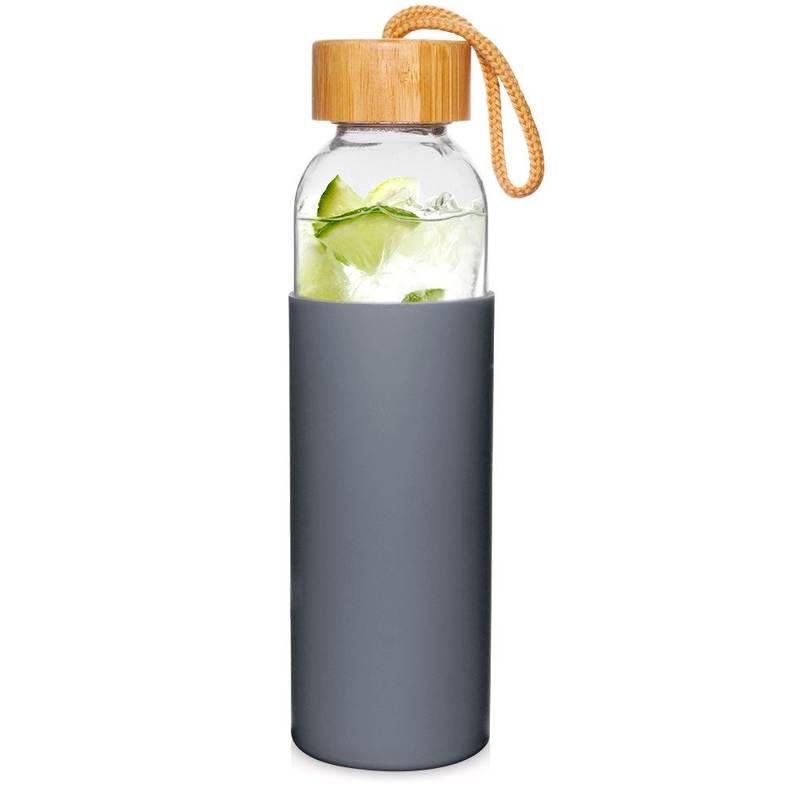 ORION Glasflasche TRINKFLASCHE aus Glas Silikon für Wasser Saft Limonade Smoothie 0,5l in Grau mit Schnurschlaufe