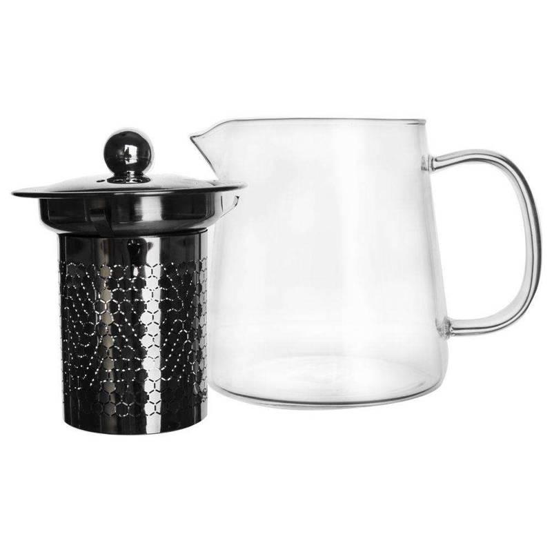 ORION Glaskanne Glaskrug Teekanne mit Teesieb Teefilter 0,6l