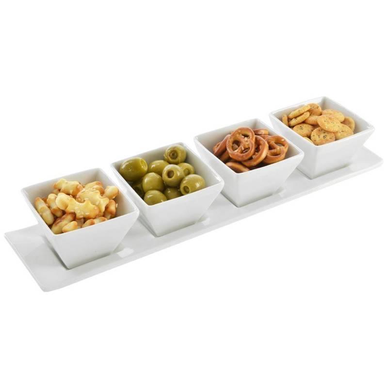 ORION Kleine Schüssel / Schälchen aus Porzellan 4 Stück + Serviertablett