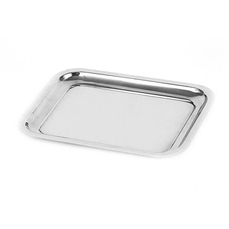 Serviertablett Servierplatte Servierteller aus Stahl rechteckig 21x16 cm