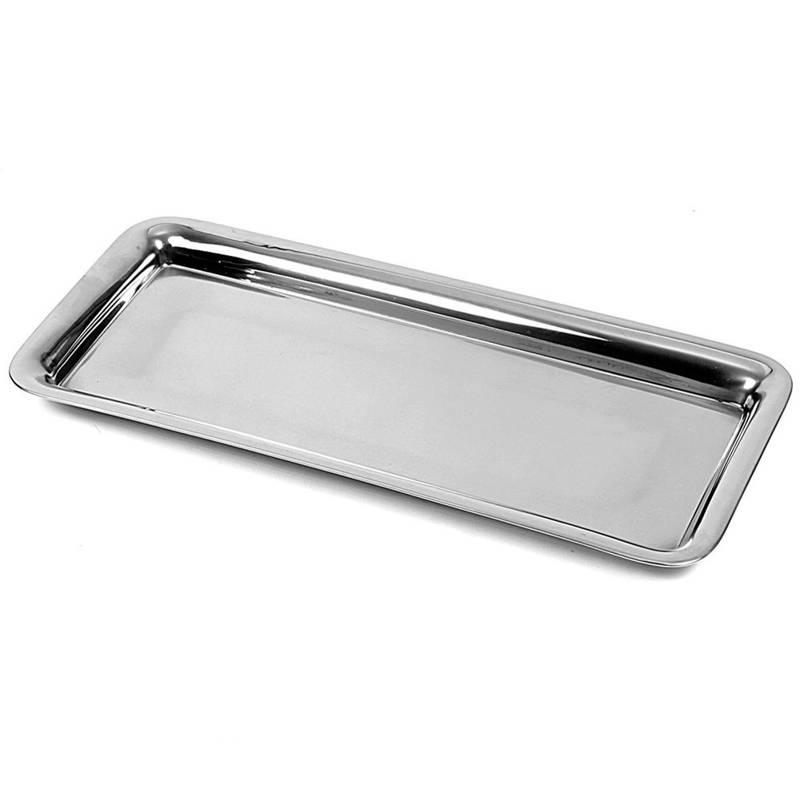 Serviertablett Servierplatte Servierteller aus Stahl rechteckig 39 x 17 cm