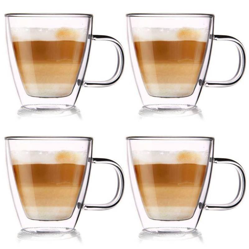 Thermogläser 4 Stück Kaffeegläser Teeglas Kaffeeglas Doppelwandig Gläser
