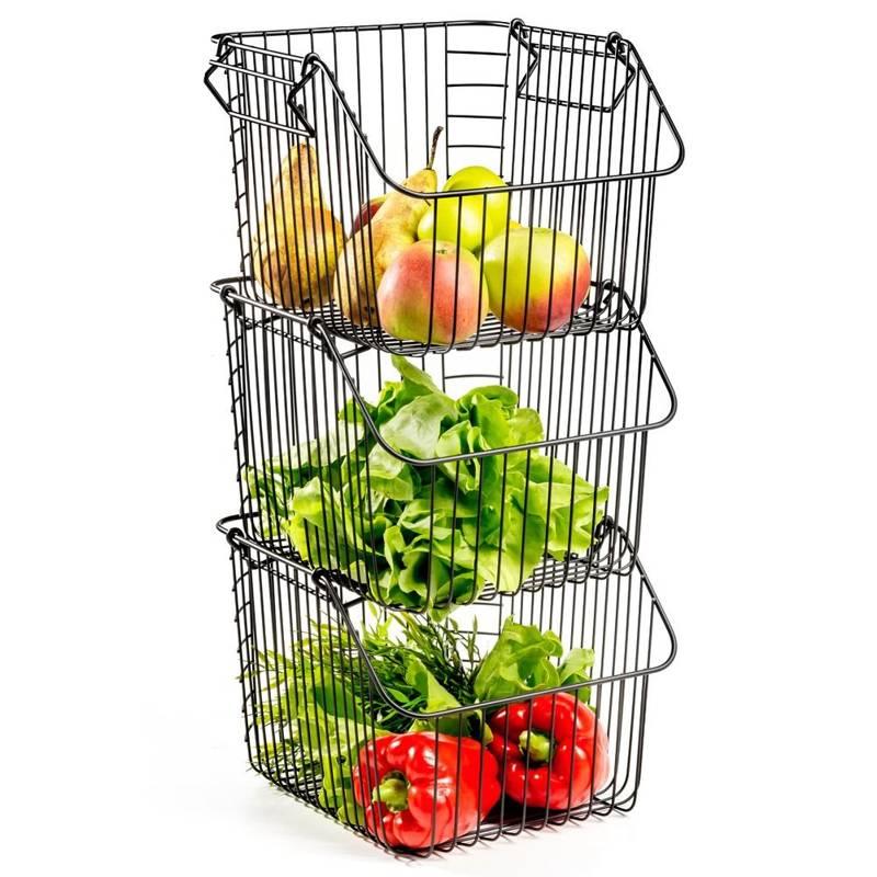 VILDE Obstkorb Gemüsekorb Aufbewahrungskorb Drahtkorb Vorratsdose LOFT, Satz mit 3 Stück.