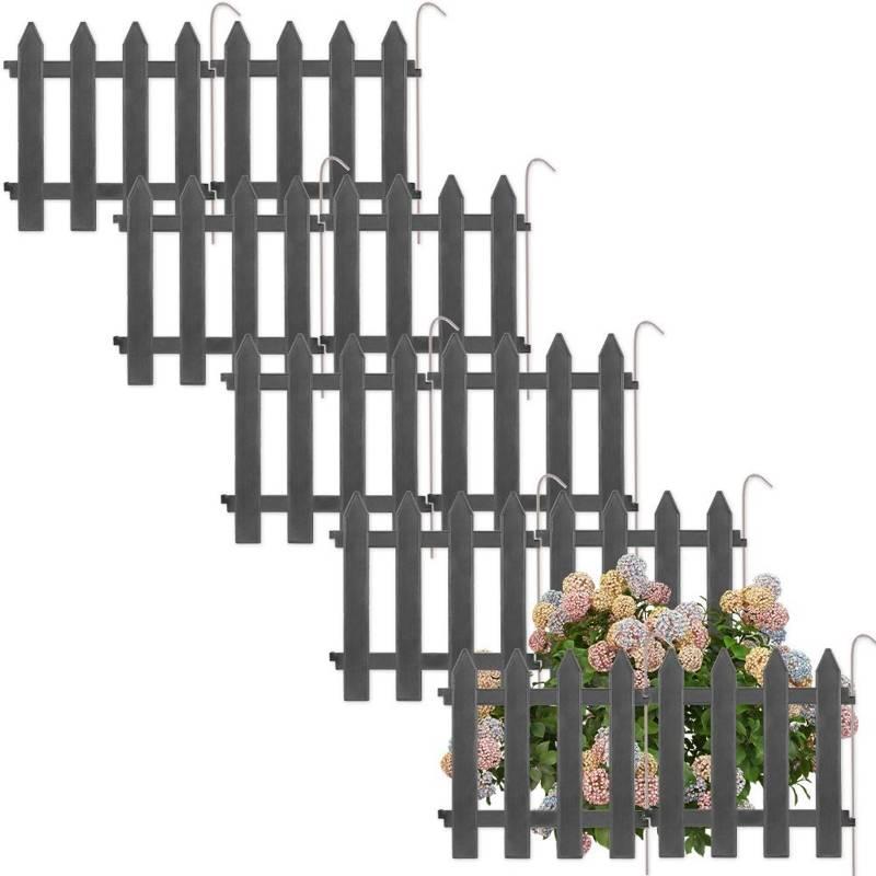 Vilde Gartenpalisade ZIERZAUN in Grau 30x30 cm 10 Stück