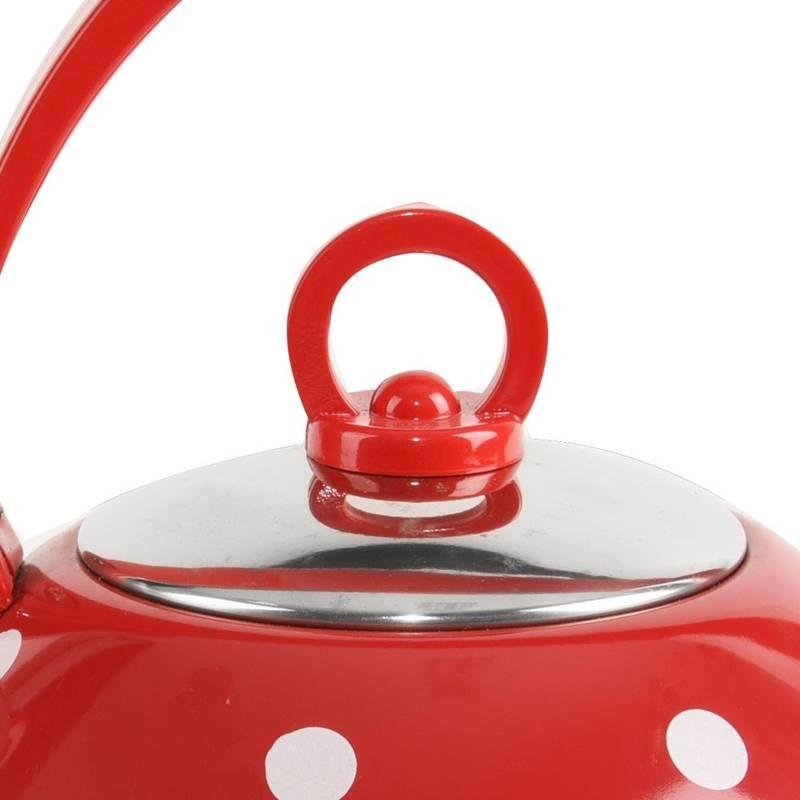 Czajnik stalowy czerwony w kropki 1,8L KARIN