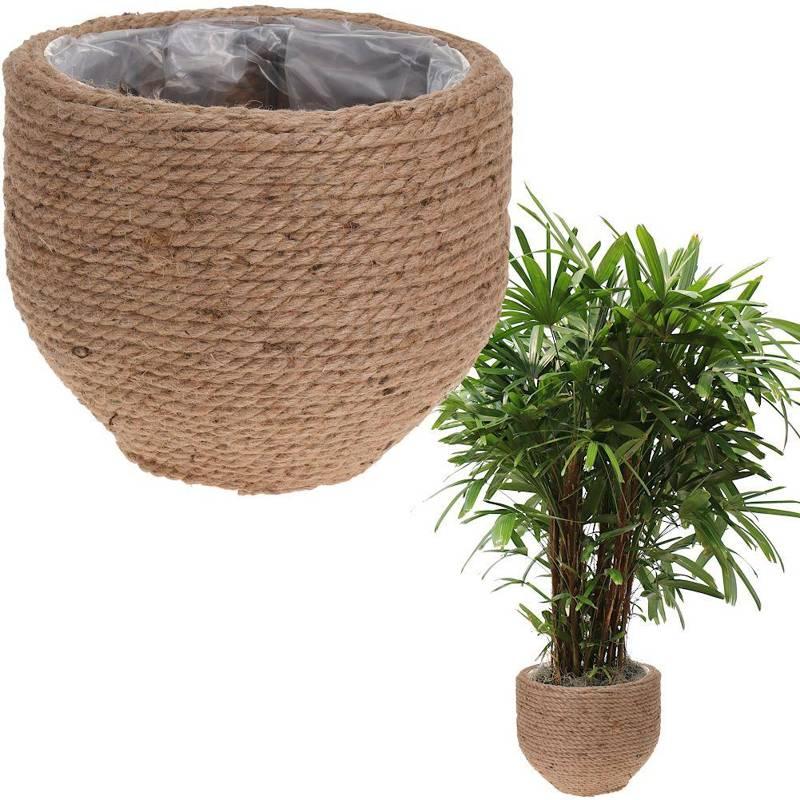 Doniczka, osłonka pleciona ze sznurka jutowego, na kwiaty, rośliny, 32x25 cm
