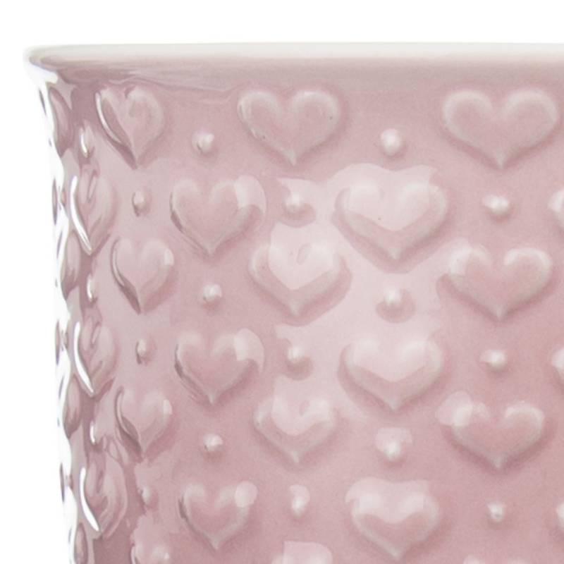 Duży kubek ceramiczny, serca, z uchem, do kawy, herbaty, 580 ml, różowy