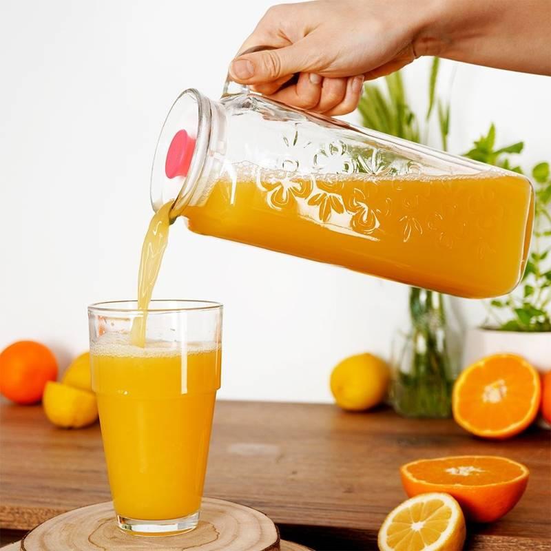 Dzbanek szklany do wody kompotu napojów lemoniady DO LODÓWKI z uchwytem i pokrywką 1,2L