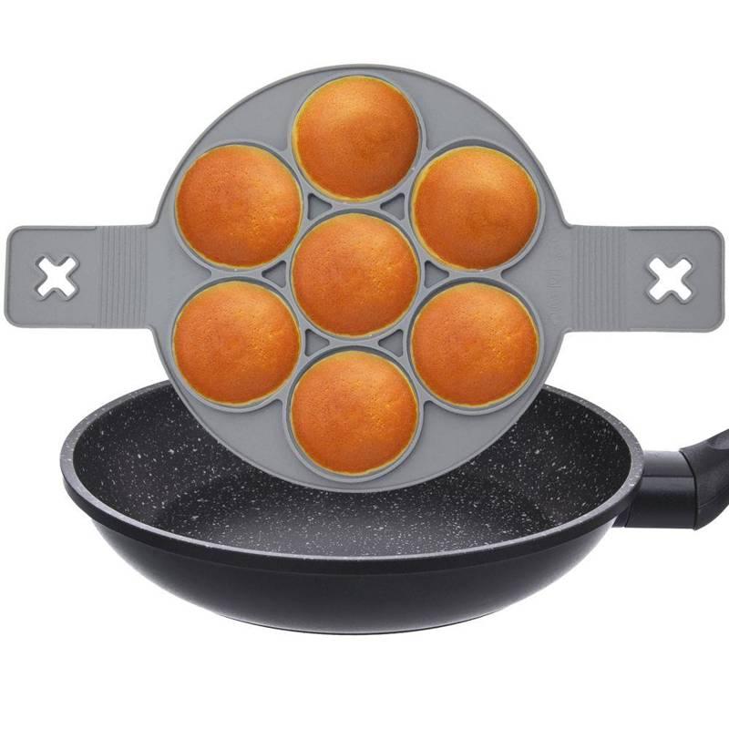 Forma silikonowa na patelnię, do jajek sadzonych, na jajka, naleśniki, pancake, placki, okrągła, 7 sztuk