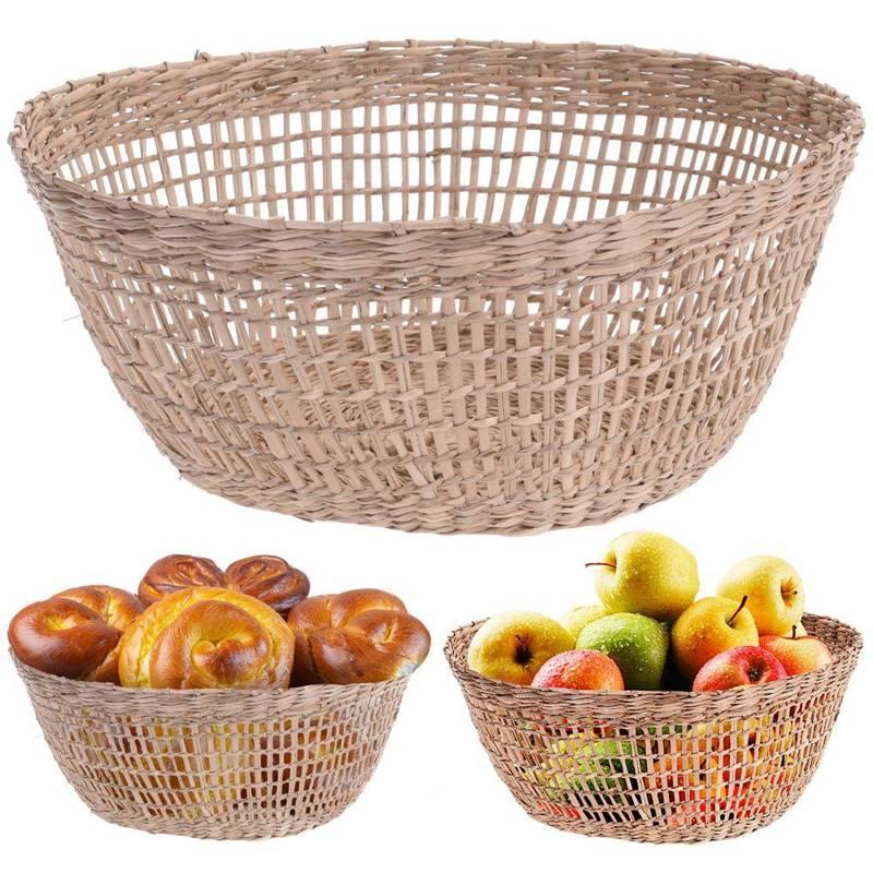 Kosz, koszyk okrągły, pleciony, z trawy morskiej, na owoce, pieczywo, 25 cm