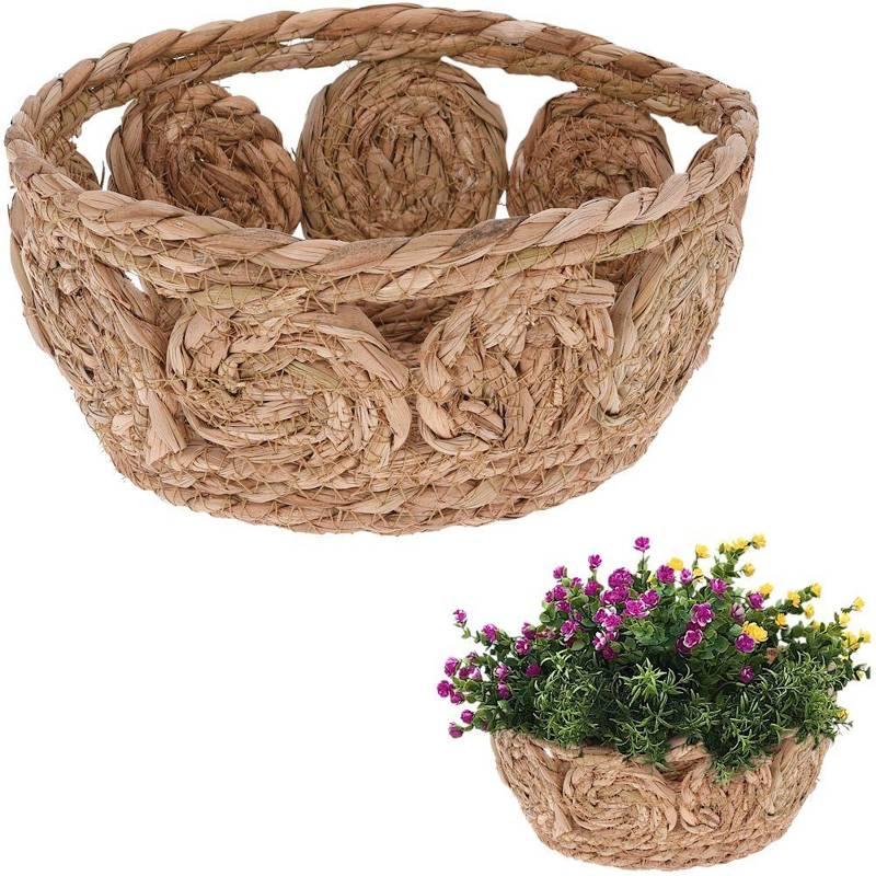 Koszyk, kosz pleciony z trawy morskiej do przechowywania, na drobiazgi, kosmetyki, osłonka na doniczkę, rośliny, 23x10 cm