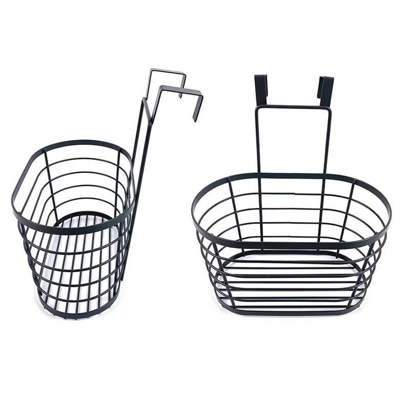 Koszyk metalowy, czarny, półka zawieszana, do zawieszenia na drzwi, drzwiczki szafki