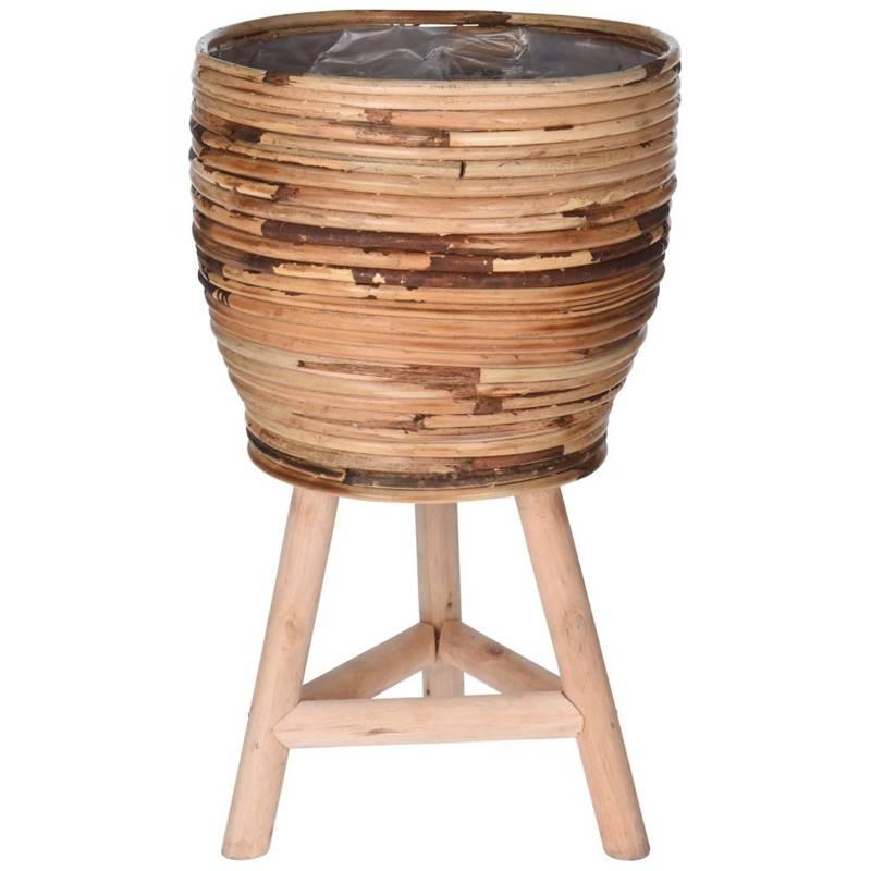 Kwietnik, stojak, doniczka rattanowa, wiklinowa, pleciona, osłonka, 26x41 cm