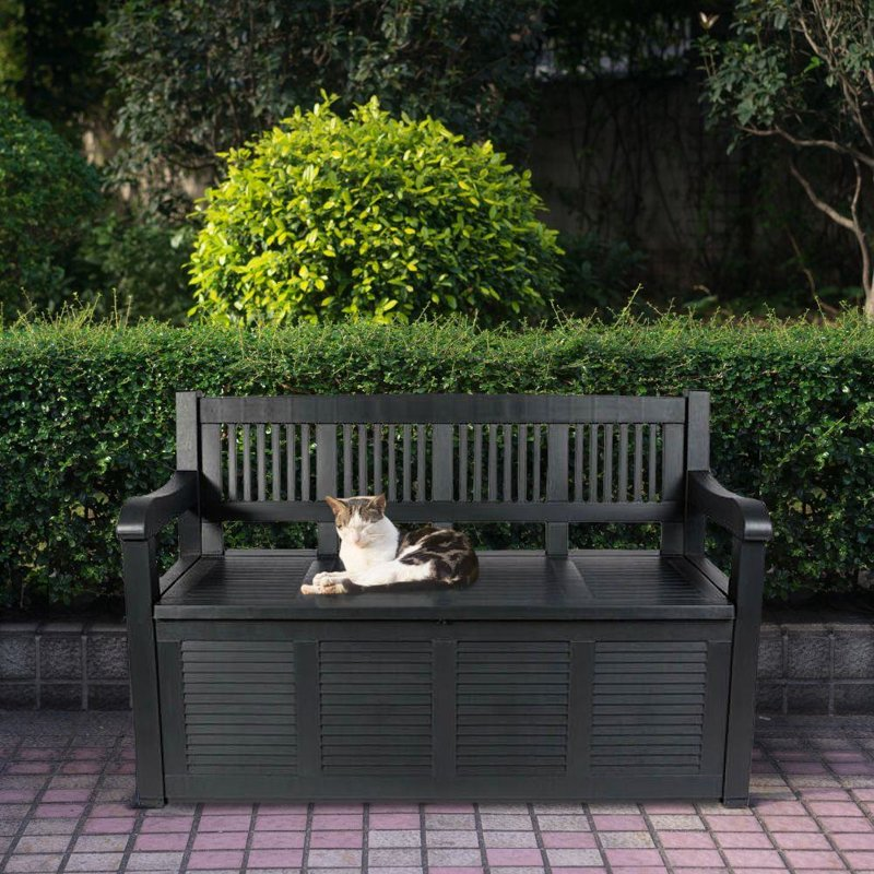Ławka ogrodowa, grafitowa, ze schowkiem, skrzynią, 280 l, 130x60x85 cm