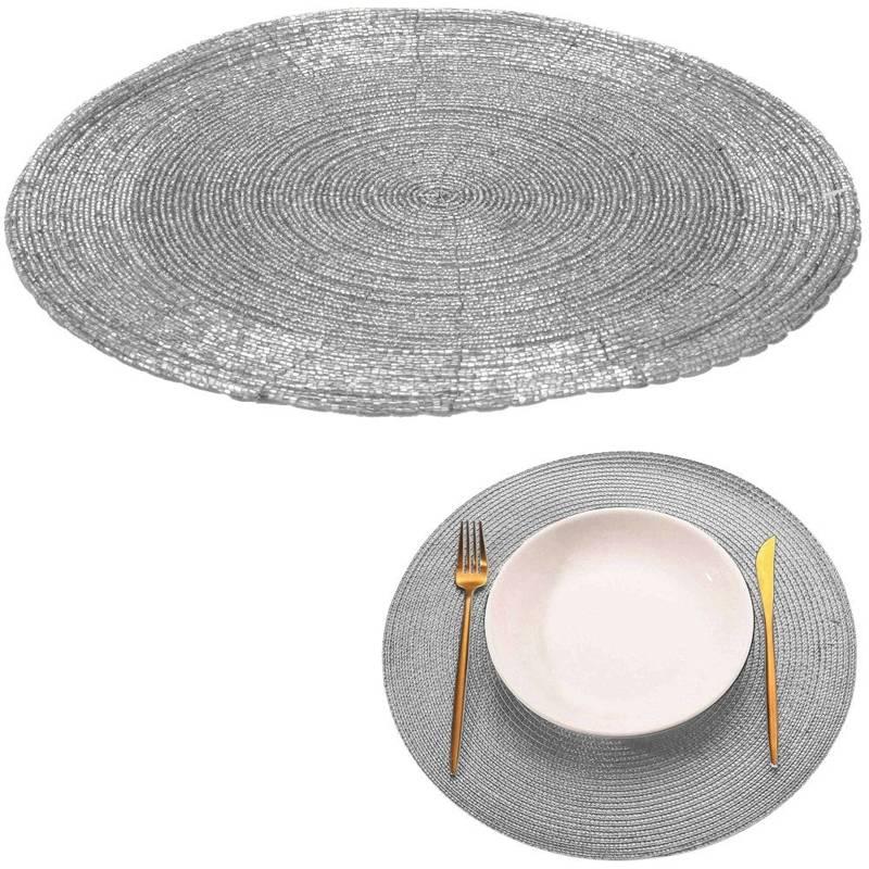 Mata kuchenna srebrna na stół, podkładka pod talerz, sztućce, okrągła 30 cm
