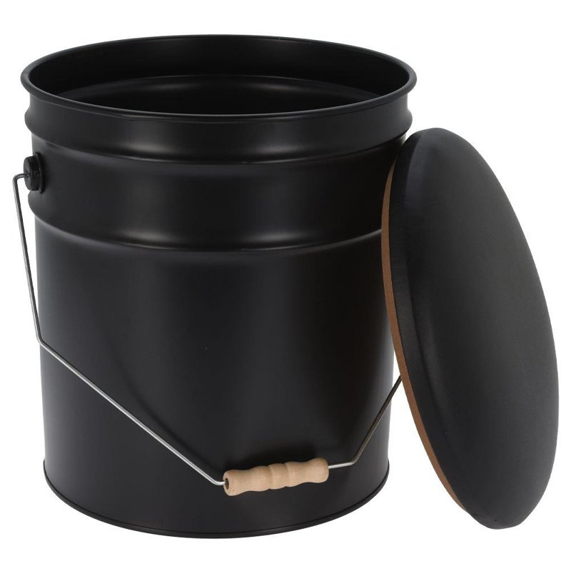 Metalowa pufa z otwieranym siedziskiem, podnóżek, siedzisko, stołek, czarny, wygodny, retro