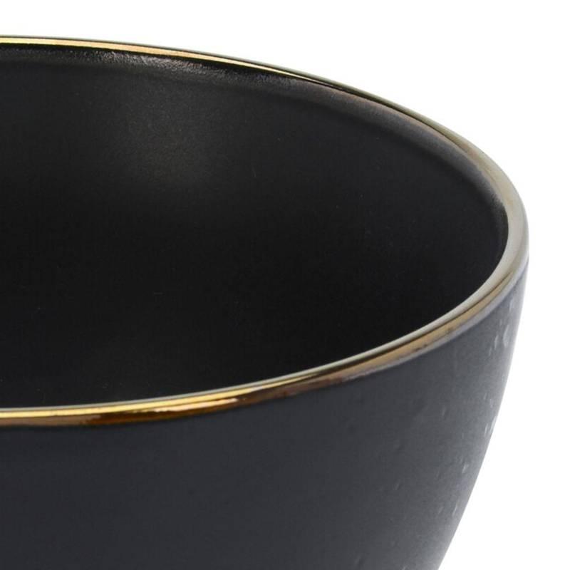 Miseczka ceramiczna, miska obiadowa, do zupy, na zupę, surówkę, przekąski, czarna, 14 cm, 750 ml