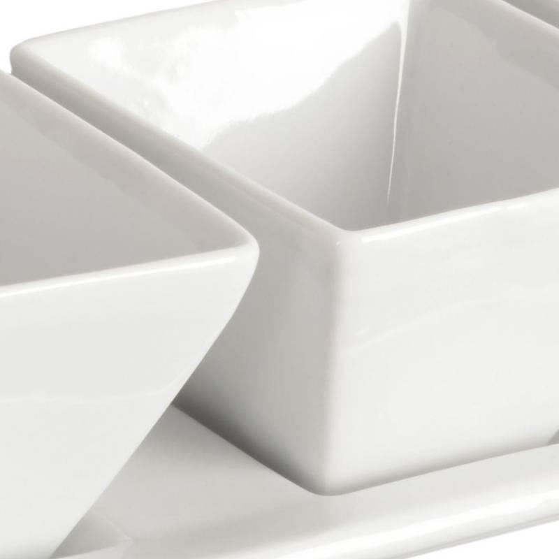 Miseczka / kokilka porcelanowa 4 szt + taca