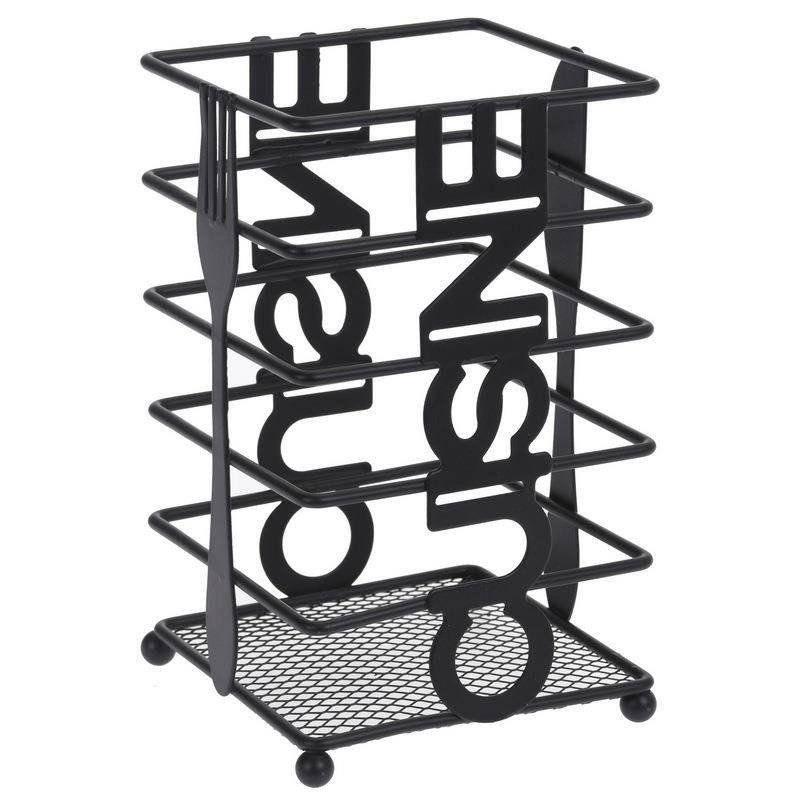 Ociekacz stojak organizer KOSZYK metalowy czarny na sztućce przybory
