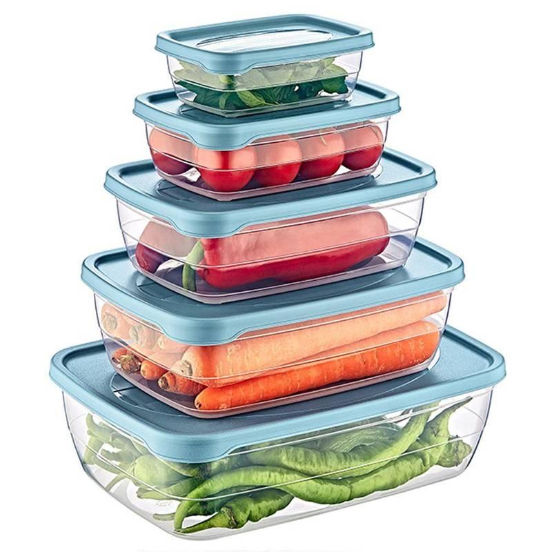 Pojemnik do żywności z pokrywką zestaw komplet pojemników 5 sztuk