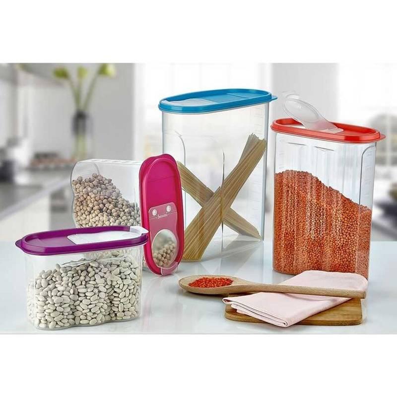 Pojemnik kuchenny na żywność płatki kasze makaron mąkę cukier produkty sypkie z dozownikiem i miarką 1,7L