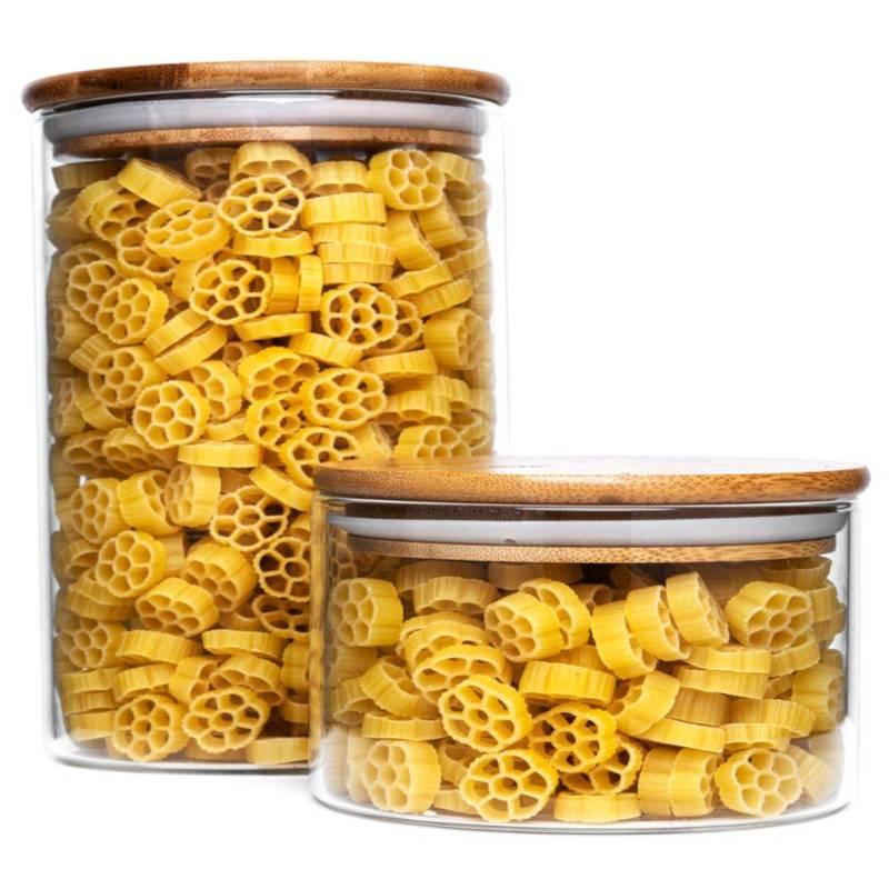 Pojemnik szklany kuchenny, słój, słoik, 1,7 l, z pokrywką bambusową, uszczelką, na makaron, płatki, kawę, produkty sypkie