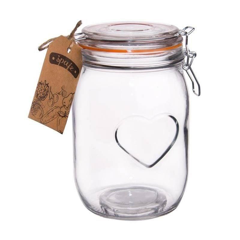Słoik / pojemnik szklany patentowy BELA 1L SERCE