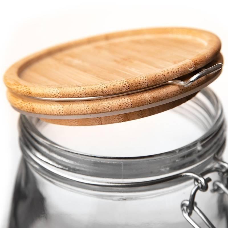 Słoik, pojemnik szklany patentowy z klipsem, 2,3 l, pokrywka bambusowa