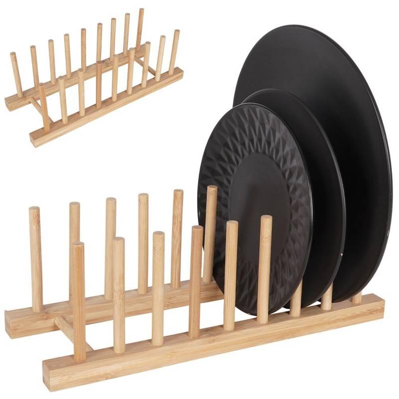 Stojak drewniany BAMBUSOWY organizer na talerze pokrywki