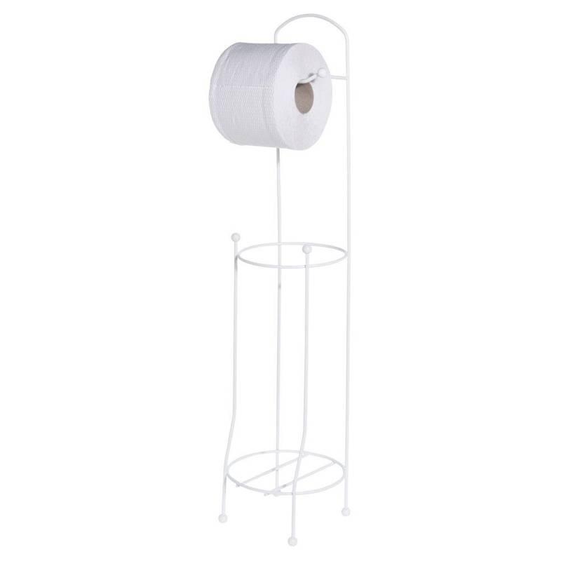Stojak + wieszak NA PAPIER toaletowy uchwyt metalowy biały