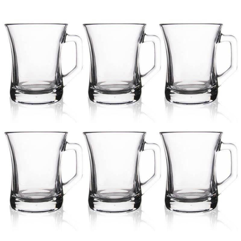 Szklanka z uchem kubek szklany do kawy herbaty zestaw komplet szklanek 225 ml 6 sztuk