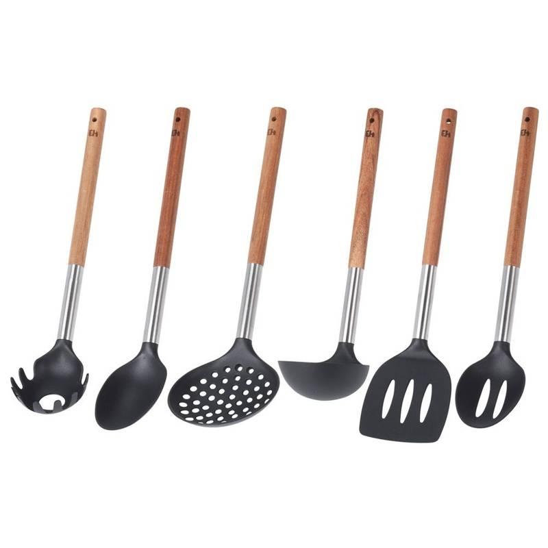 Zestaw przyborów kuchennych w koszyku chochla łopatka szumówka łyżka