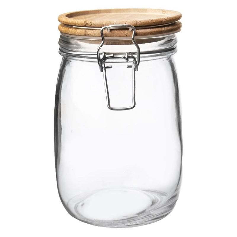 Borcan, recipient din sticlă cu clemă, 1,6 l, capac din bambus