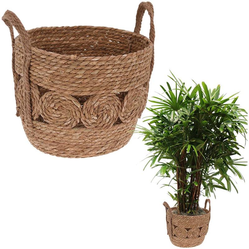 Carcasa, ghiveci, ghiveci de flori, ghiveci de flori, coș boho, coș țesut din iarbă de mare pentru ghiveci, plante, pentru depozitare, 28x22 cm