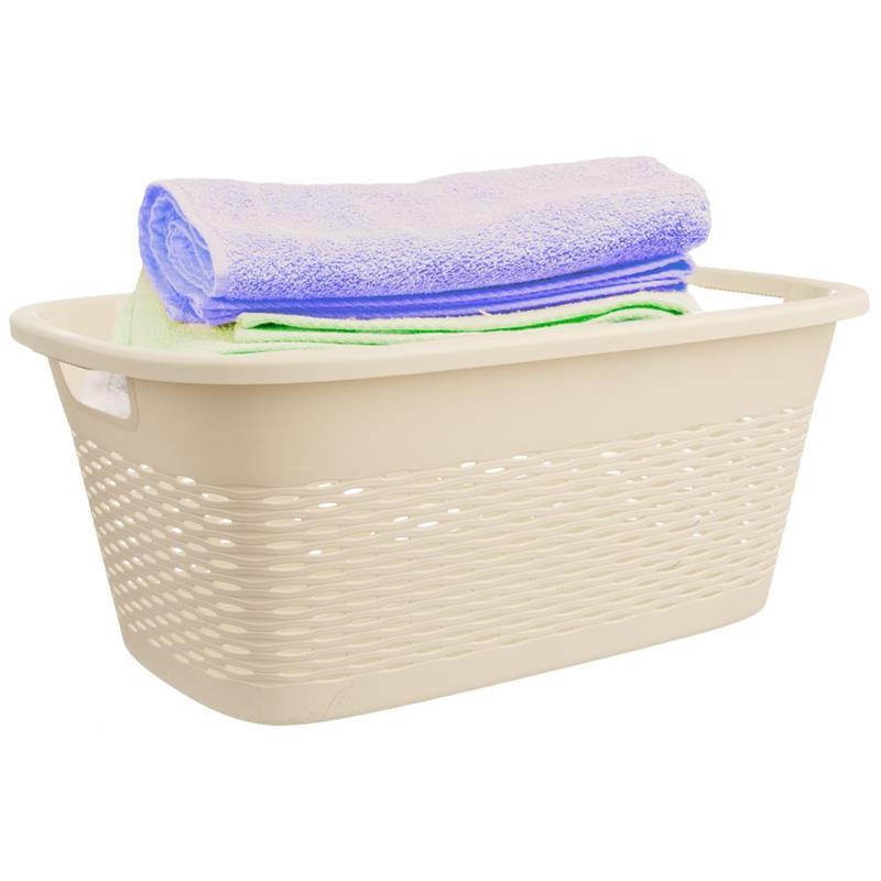 Coș, recipient de baie pentru rufe, haine, lenjerie, bol, 29 l, bej