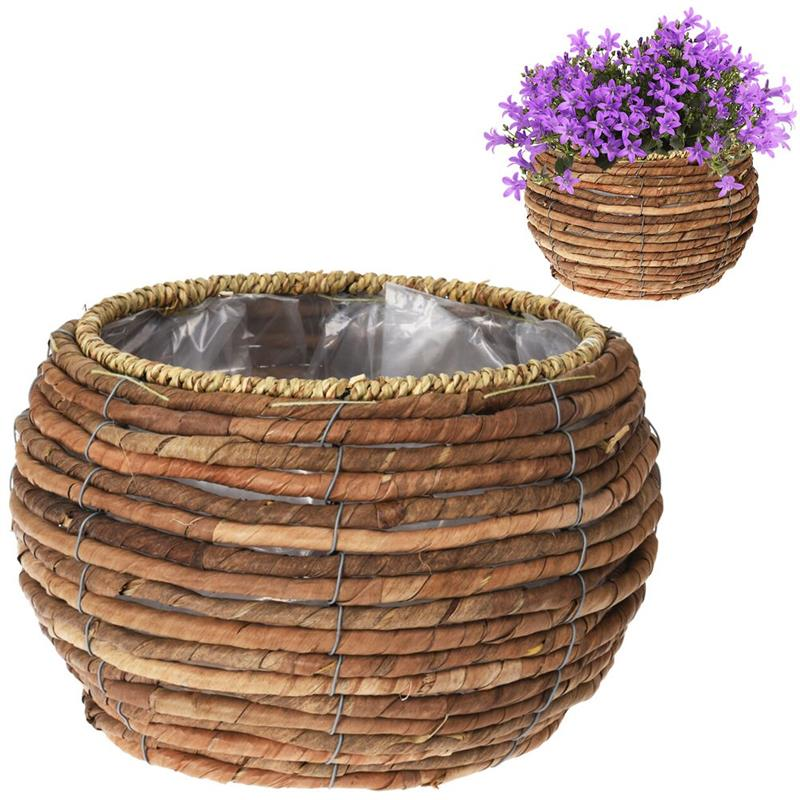 Ghiveci de flori, capac împletit, pentru flori, plante, 24x15,5 cm