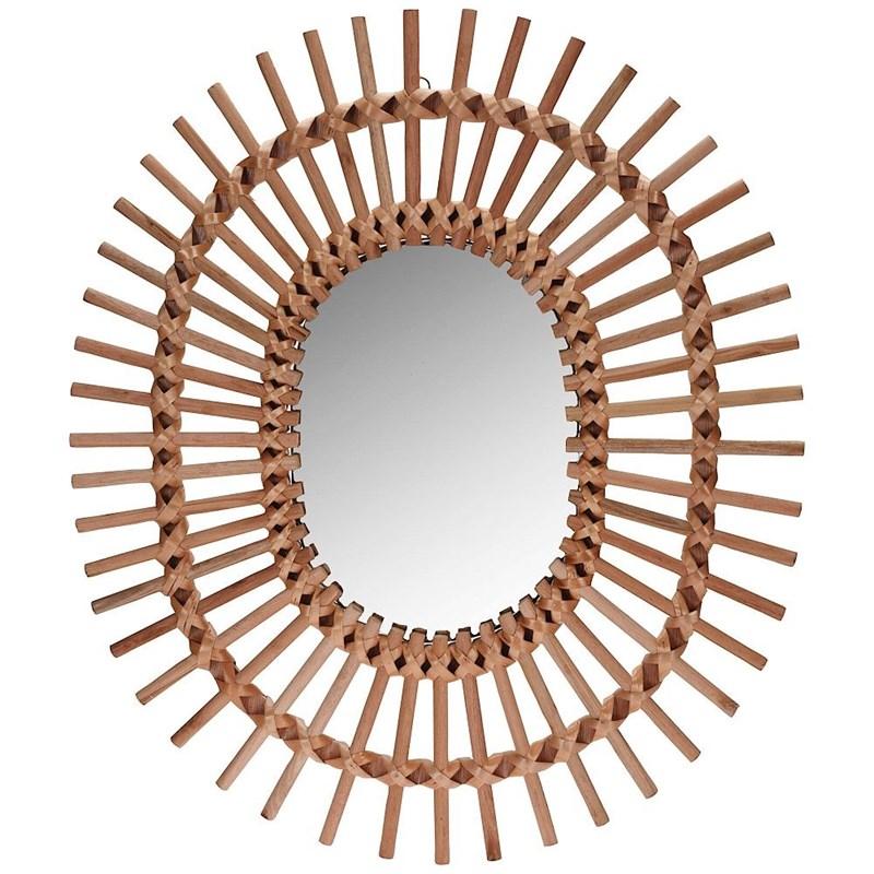 Oglindă din lemn, boho, în ramă de lemn, ovală, 57x49 cm