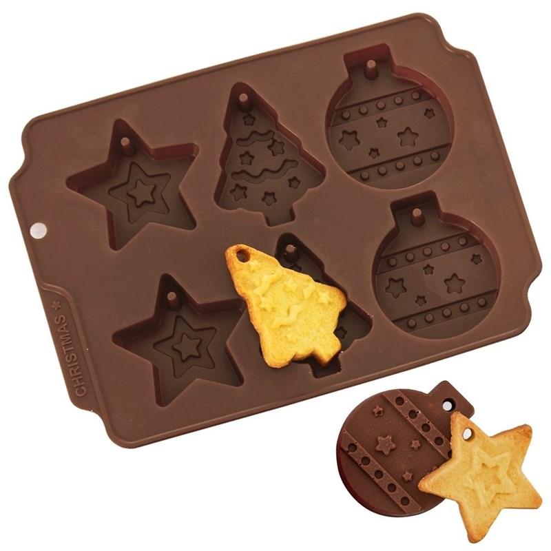 Tăviță de biscuiți din silicon, Crăciun, baubles, pom de Crăciun, stea