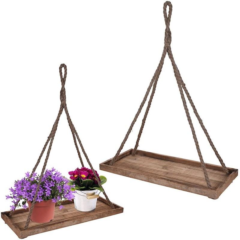 Trunchi de flori, bază, agățat pe perete, bază din lemn, pentru ghiveci, floare, plantă, 58x25 cm