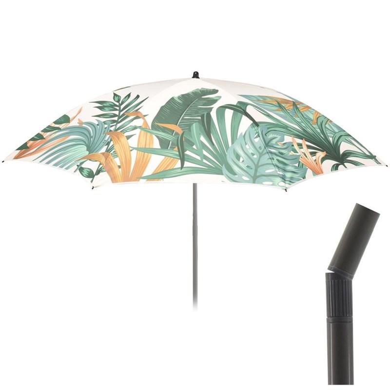Umbrelă de plajă de grădină, 180 cm, reglabilă, frunze