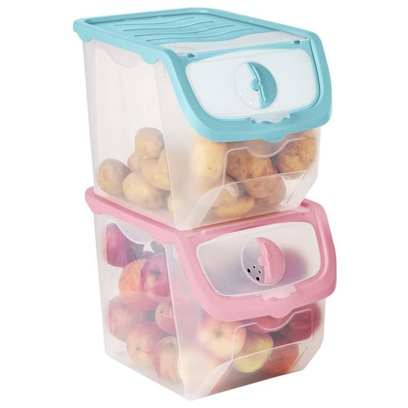 2x container pentru legume, fructe, ceapă, cartofi Set de 12 l de containere
