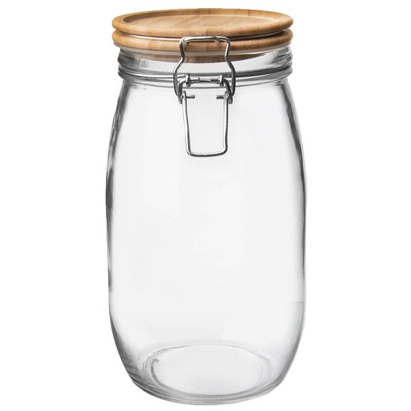 Borcan, recipient din sticlă cu clemă, 2,3 l, capac din bambus